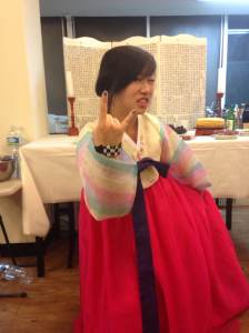 Ellie in Korea wearing a traditional outfit called hanbok.